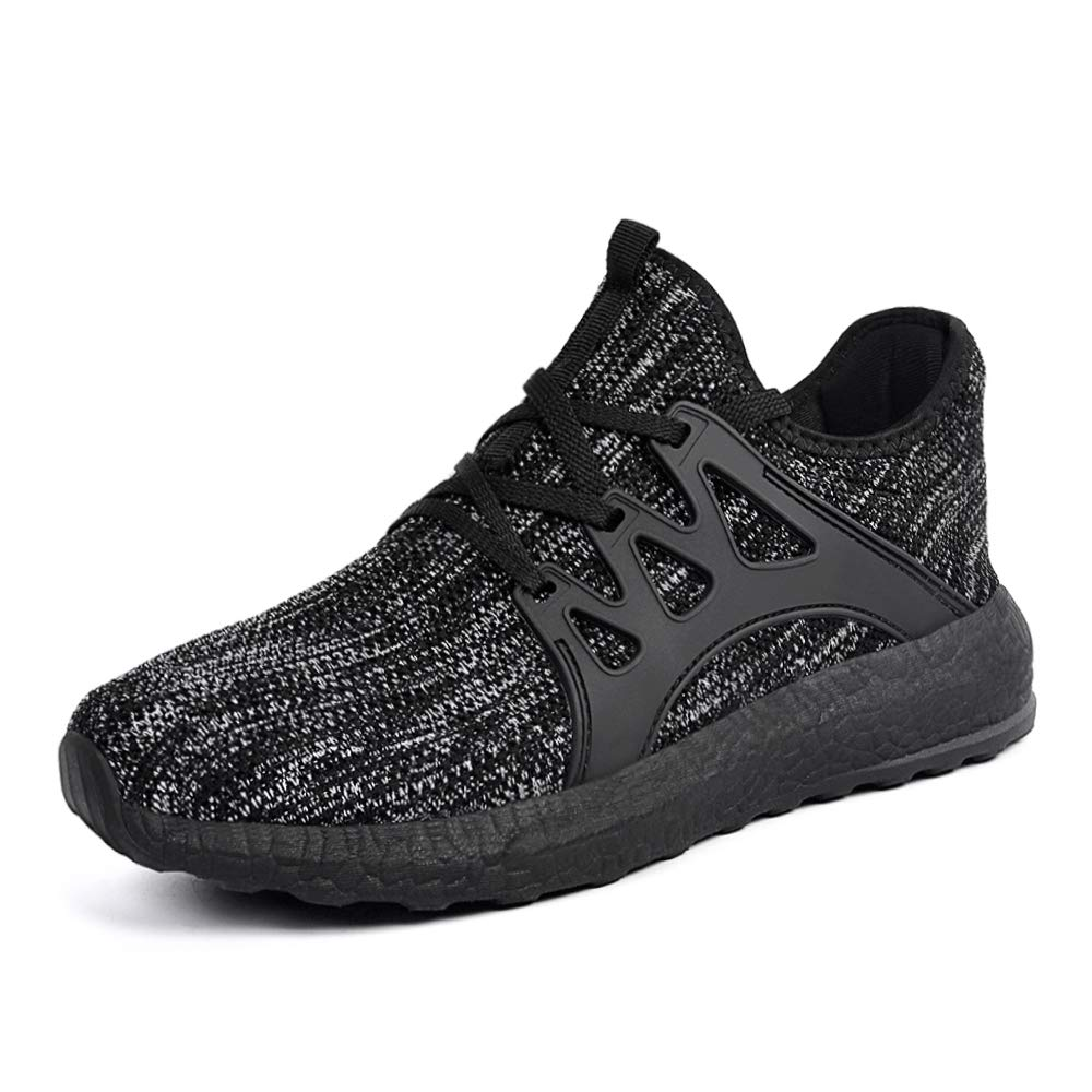 QANSI Boys Girls Shoes Lightweight Slip On Athletic Running Sports Fashion Shoes for Girls Grey//Black 3.5 Big Kid