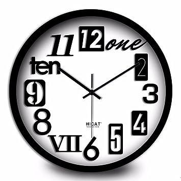 Maivasyy Círculo de metal Reloj Inglés salón retro Casa minimalista habitación Restaurante Mute reloj, reloj de cuarzo de la caja negra, números arábigos ...