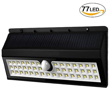 Gyoyo - Lámpara solar LED con detector de movimiento (44 ledes/77 ledes,
