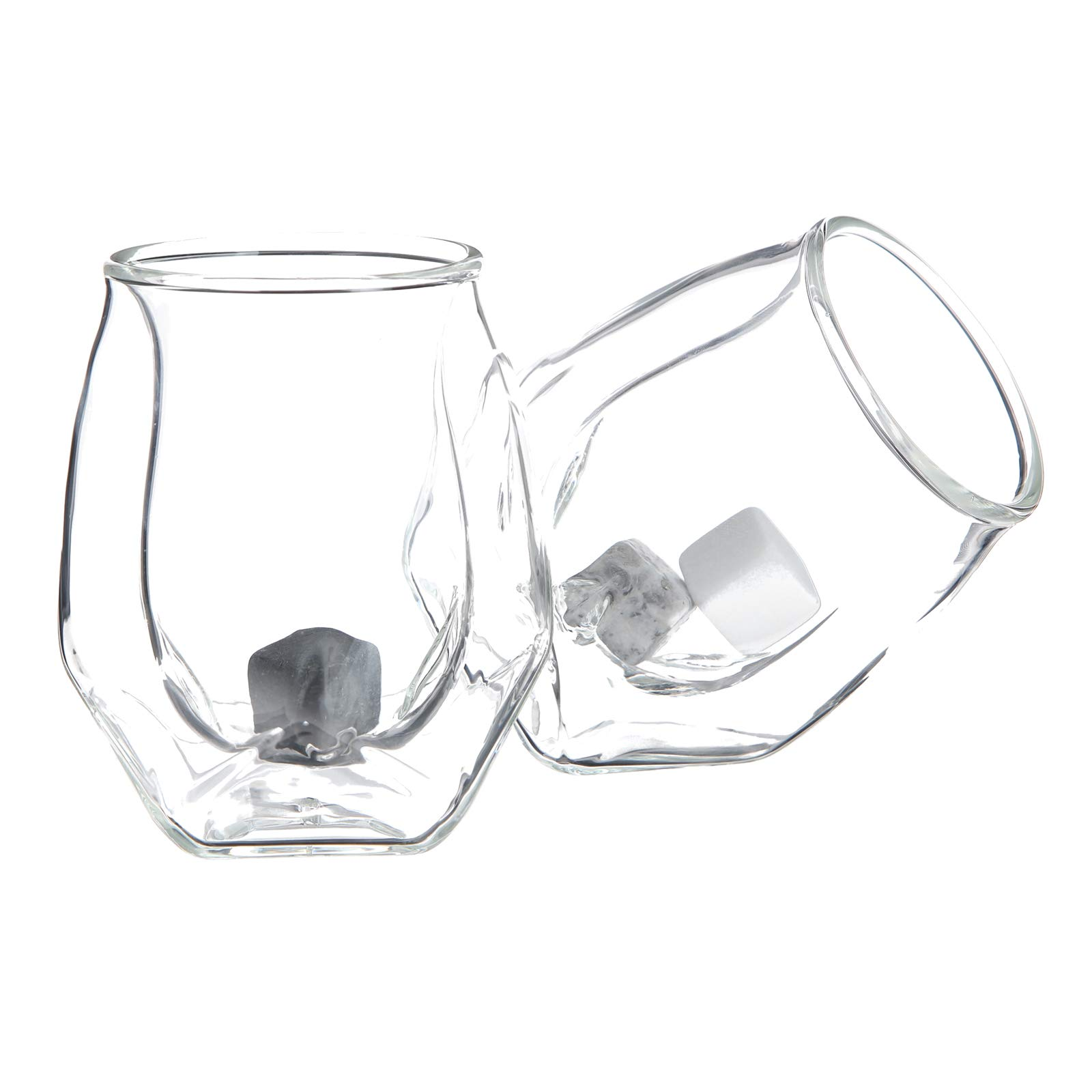 The Tapestry MALLAN Whiskey Glass - Set of 2 in a Sophisticated Gift Box with Refined Whiskey Stones | Modern Mouth-Blown Double Walled Borosilicate Glass | Designed in Iceland