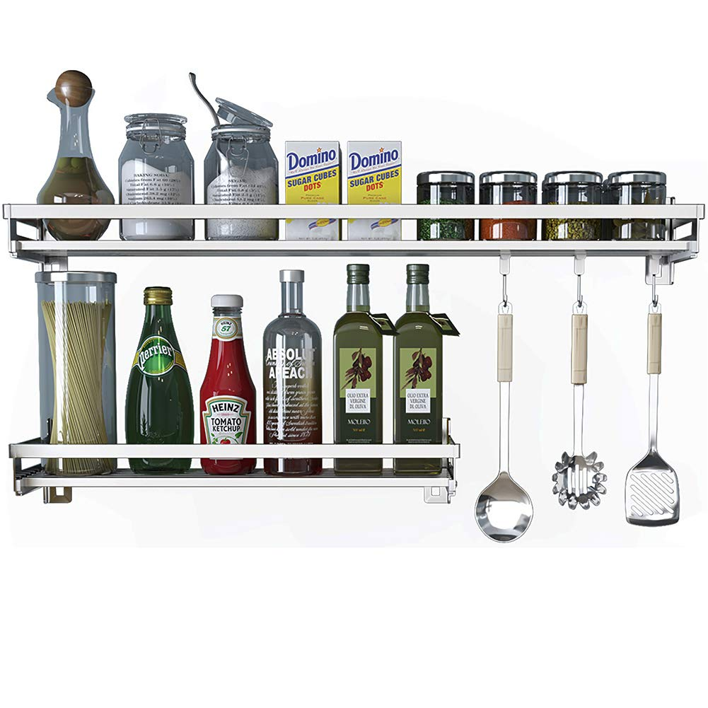 Eastore Life Wall Mounted Spice Rack with 4 Hooks - 304 Stainless Steel Seasoning Storage Shelf for Kitchen, Easy to Assemble, 23.6-Inch by Eastore Life