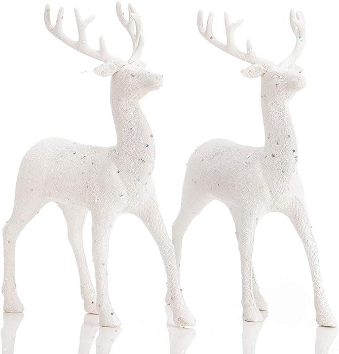 ARCCI Standing Reindeer Decorations Christmas Deer Figurines, 8.6