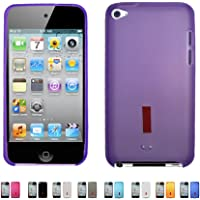 BR Purple Apple iPod Touch 4 4G w/Cameras (iPod Touch 4th Generation) Matte TPU Transparenet Silicone Gel Case Skin Cover + Free Screen Protector