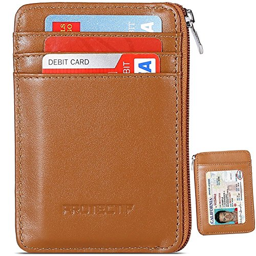 Small Zippered - Protectif Leather RFID Blocking Front Pocket Wallet with Zipper, Card Sleeves and Id Window - Brown