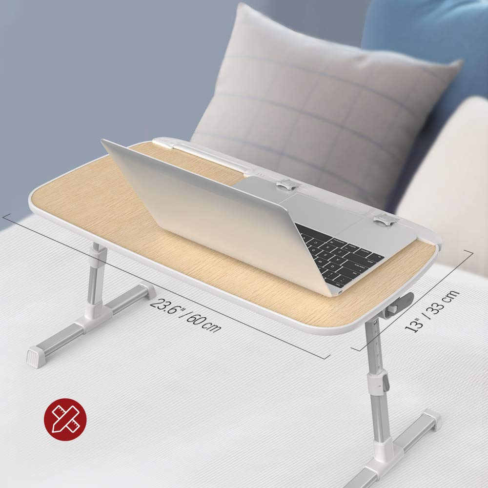 TaoTronics TaoTronics TaoTronics - Mesa para ordenador portátil, plegable, ajustable, para cama, sofá y mesa de ordenador, de madera e8b913