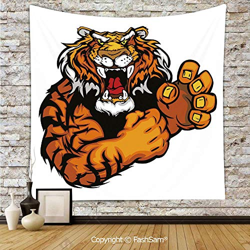 Tapestry Wall Blanket Wall Decor Cartoon Styled Very Angry Muscular Large Cat Fighting Mascot Animal Growling Print Decorative Home Decorations for Bedroom(W59xL90)]()