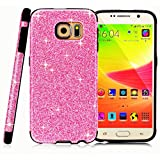 MEKO Galaxy S6 Case, Glitter Bling- Built-in Sparkles- Anti-Falling off and Anti-Shock High Quality Soft Gel Flexible TPU Case[Perfect Fit] [Scratch Resistant] for Samsung Galaxy S6 -- (Hot Pink)