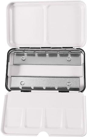KAIMENG Acuarela Lata Caja de Metal Vacía, con 12 Mitad Sartenes: Amazon.es: Hogar