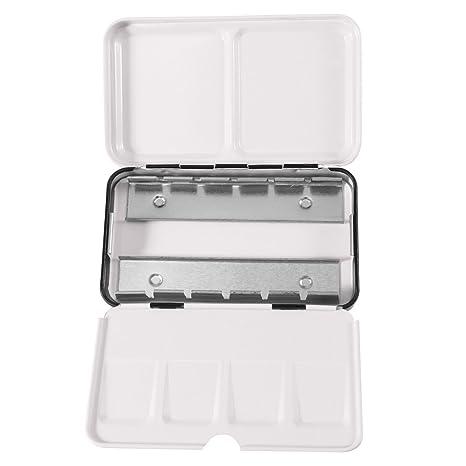 KAIMENG Acuarela Lata Caja de Metal Vacía, con 12 Mitad Sartenes