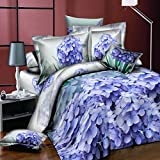 Meiyiu 3D Printed Stylish Bed Set 4 Pieces Bed Sheet Quilt Cover Pillowcases Wedding Housewarming Gift Decoration Purple Flowers