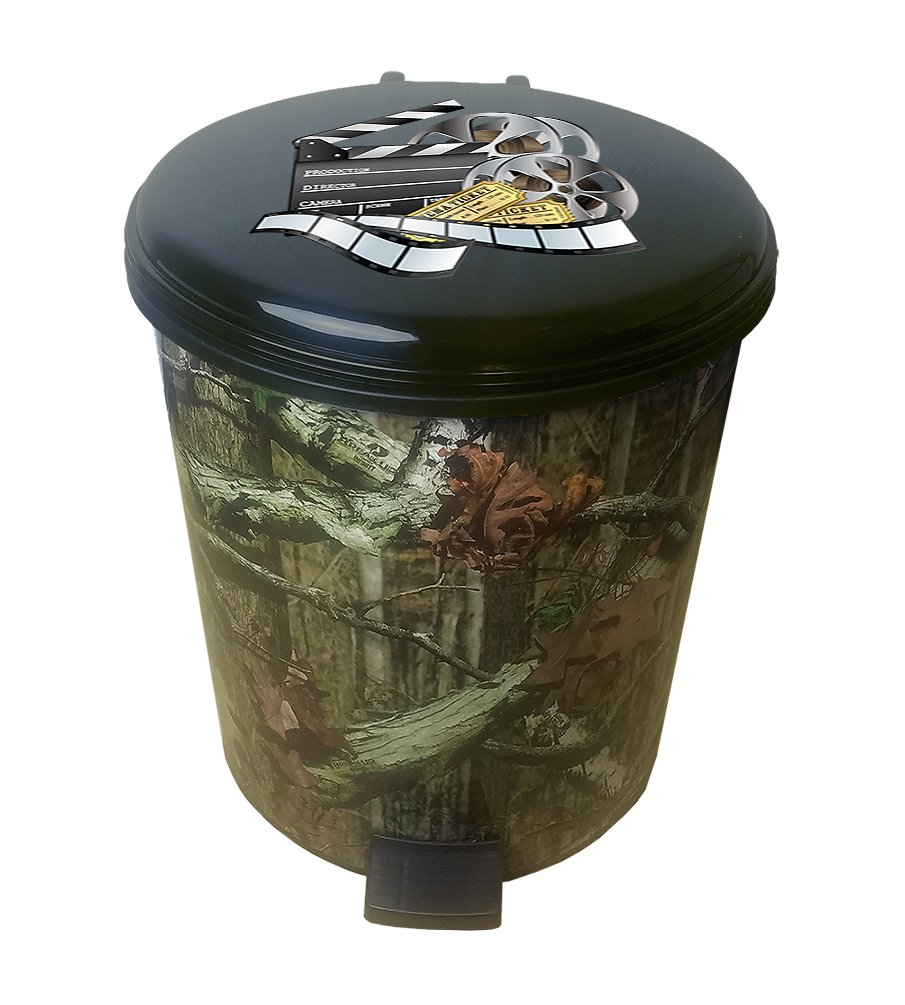 The Furniture Cove 2.6 Gallon Plastic Step Can Wastebasket in a Camouflage Print Featuring Your Choice of a Novelty Theme Logo Decal - FREE Trash Can Liner (Movie Reel)