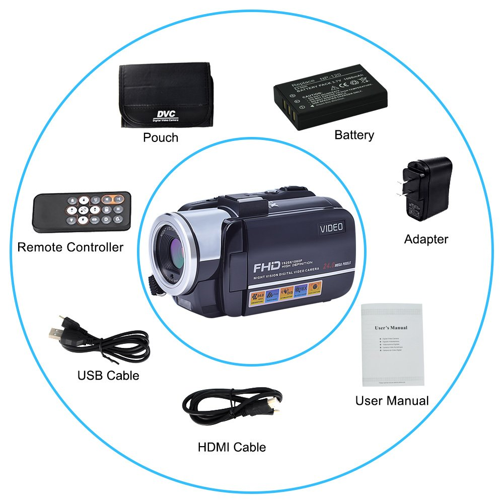 Camcorder Video Camera Full HD 1080p 24.0MP Digital Camera External Microphone Video Recorder Night Vision Webcam with Remote Control (C71-FBA)