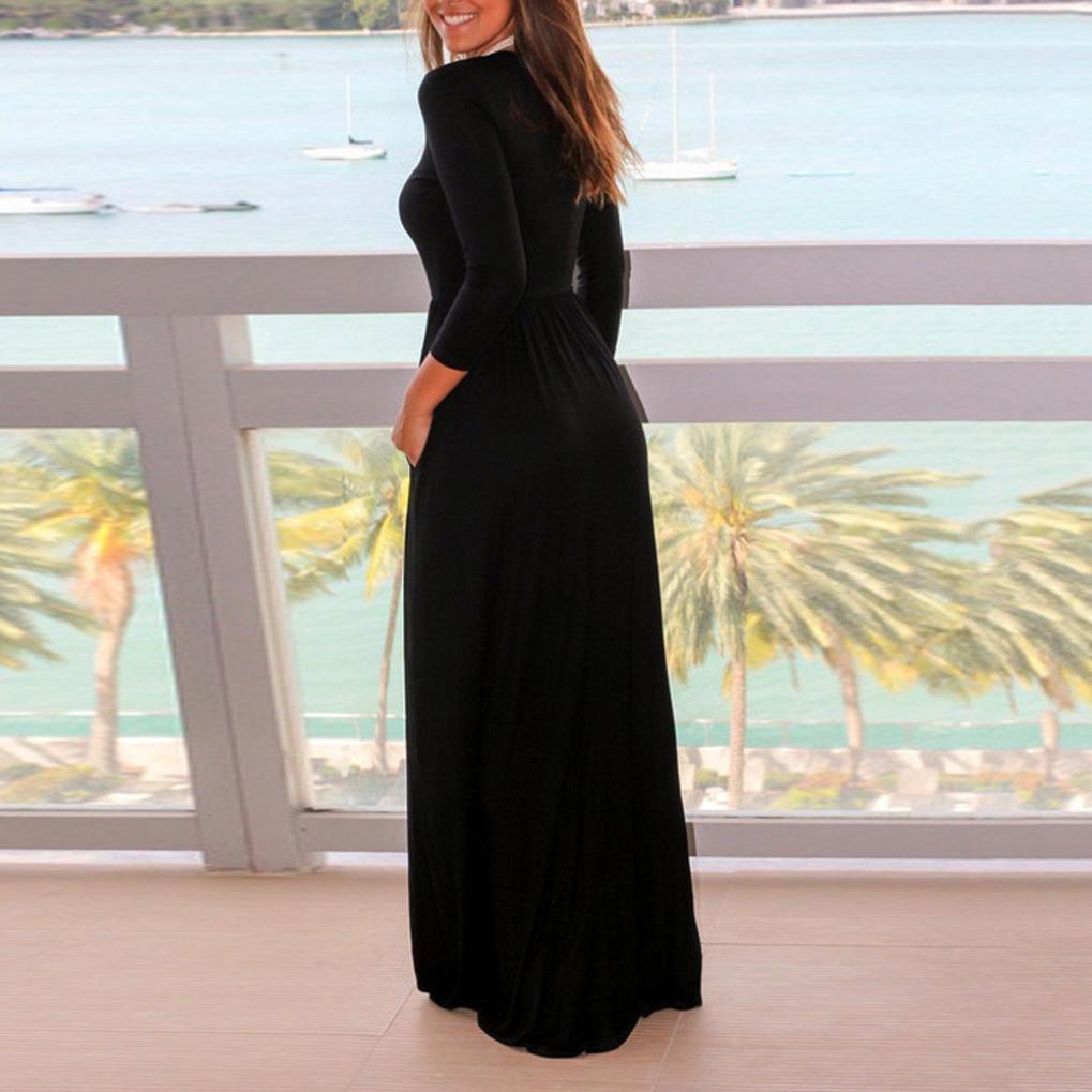 5cf5f1503c Amazon.com  Teresamoon Women s Short Sleeve Loose Plain Maxi Dresses Casual Long  Dresses with Pockets  Clothing