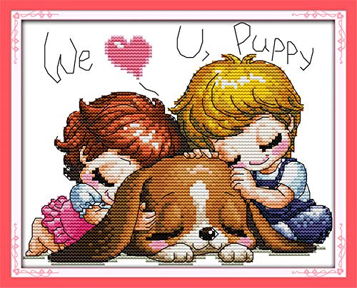 LanMent We Love You Puppy Stamped Cross Stitch 14CT Counted Kits Cross-Stitching Pattern Embroidery for Beginner Adults Home Decor Birthday Gift 10 x 7.5 Inches