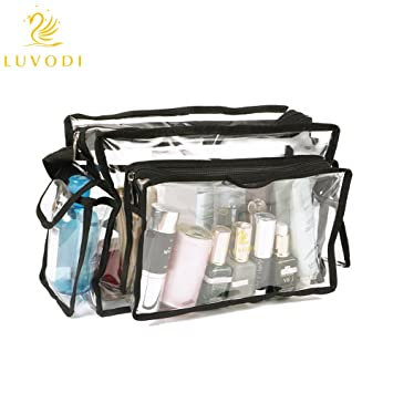 448d2069ef1 LUVODI Clear Makeup Bag PVC Transparent Cosmetics Bag Waterproof Toiletry  Organizer Pouch with Removabele Shoulder Strap