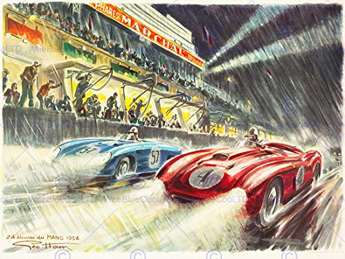 Paintings Sport Motor Le Mans 24 Hour Race Car Speed Rain Poster Print