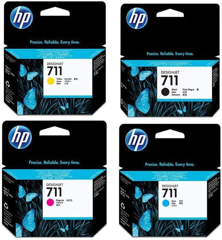 HP 711 Ink Cartridge Bundle Consists of HP 711 38-ML Black Ink Cartridge, P 711 29-ML Cyan Ink Cartridge, P 711 29-ML Magenta Ink Cartridge, P 711 29-ML Yellow Ink Cartridge
