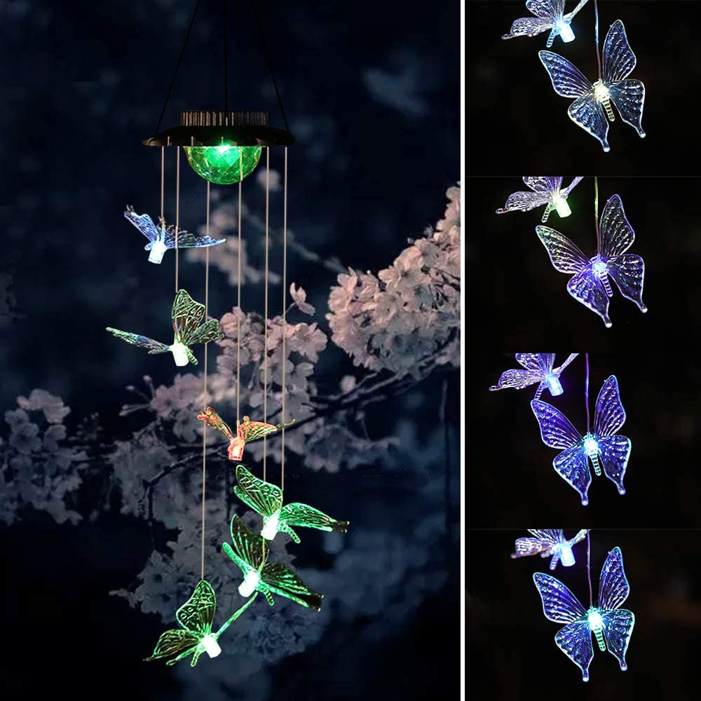 Wind Chimes Outdoor Solar Butterfly Wind Chimes Color Changing LED Mobile Wind Chime Make a Great Birthday Gifts for Mom, Hanging Decorative Romantic Patio Lights for Yard Garden Home Party