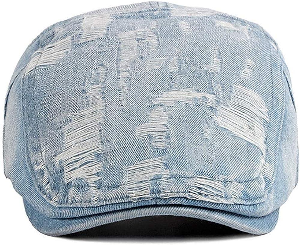 Kangqifen Mens Womens Flat Cap Cotton Denim Vintage Distressed Newsboy Cap