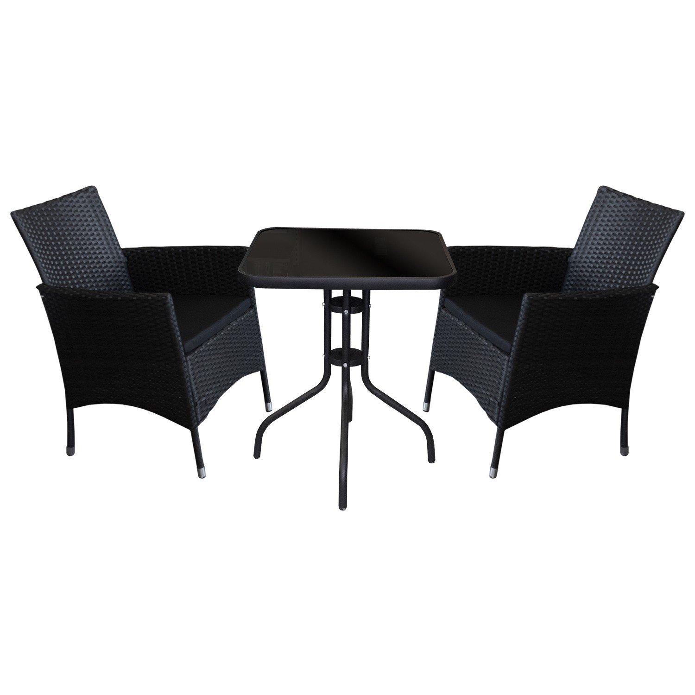 3tlg. Sitzgarnitur Bistro Balkonmöbel Set - Gartentisch, 60x60cm, schwarze undurchsichtige Tischglasplatte + 2x Rattansessel, Polyrattanbespannung Schwarz, inkl. Sitzkissen / Terrassenmöbel Gartengarnitur Sitzgruppe Gartenmöbel