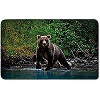 Memory Foam Bath Mat,Cabin Decor,Grizzly Brown Bear in Lake Alaska Untouched Forest Jungle Wildlife Image DecorativePlush Wanderlust Bathroom Decor Mat Rug Carpet with Anti-Slip Backing,Green Brown B
