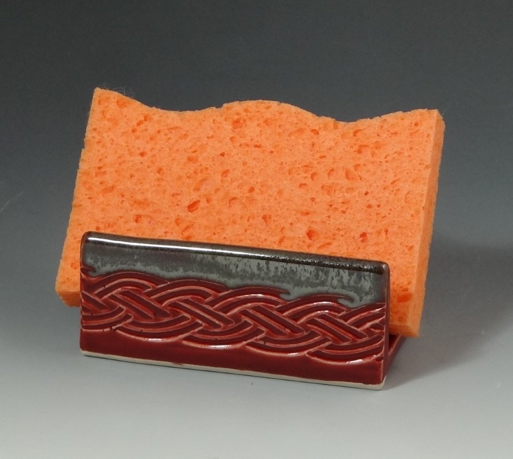 Ceramic Sponge Holder, Pottery Sponge Holder in Cranberry Red with Metallic Gray Edge, Celtic Braid Motif, Soap Dish