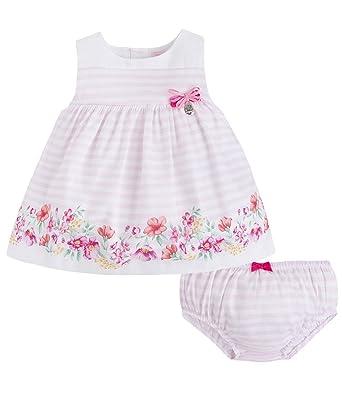 9c2fb6563dc0 Mayoral Newborn Baby Girls 0M-12M Pink White Striped Floral Border Cotton  Social Dress