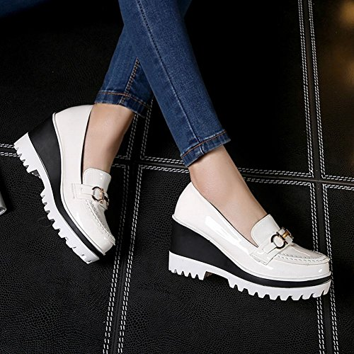Latasa Mujeres Fashion Synthetic Patent-leather Platform Slip On Wedge Mocasines Zapatos Blanco