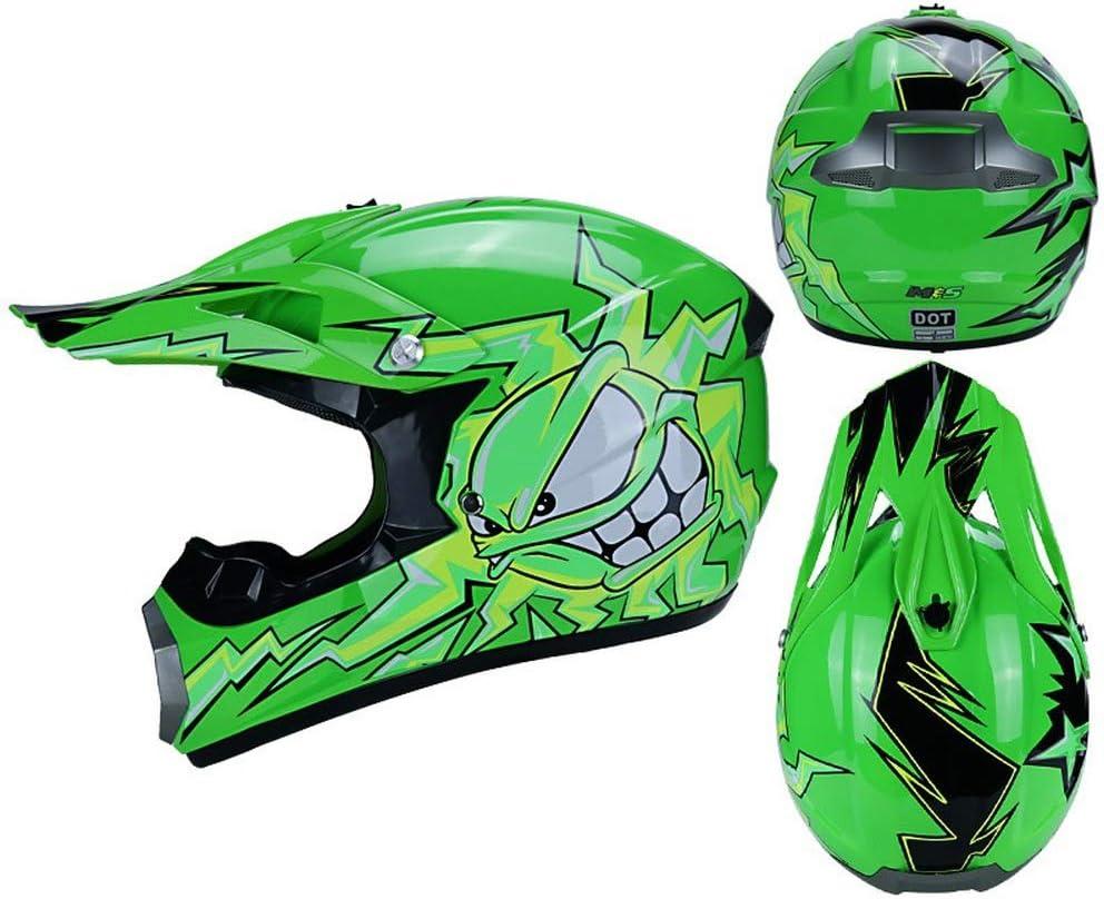 Gr/ün, S MIBDF Kinderhelm,Motorrad-Helm MX Cross-Helm MTB BMX Cross-Bike Downhill Off-Road Sport Pocket-Bike /· DOT-Zertifizierung
