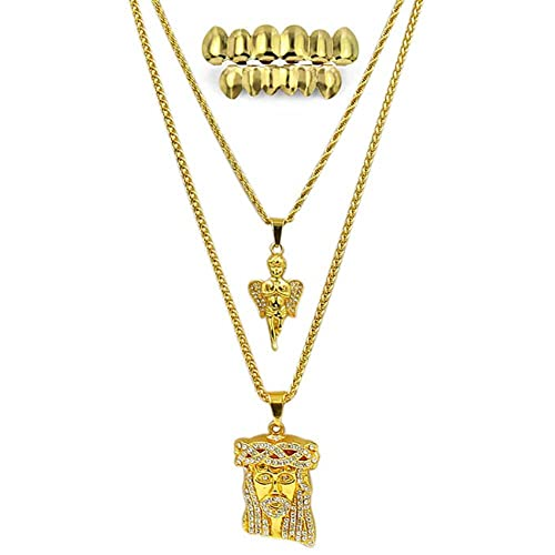Amazon jinao hip hop pendants necklaces 2 pcs jesus and angel jinao hip hop pendants necklaces 2 pcs jesus and angel pendant necklace with gold teeth caps aloadofball Choice Image