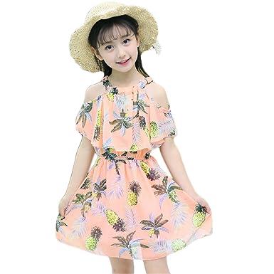 13748a5bc502b  ユリカー  ワンピース ガールズ 女の子 夏 半袖 肩出し パイナップル 花柄 キッズ Aライン