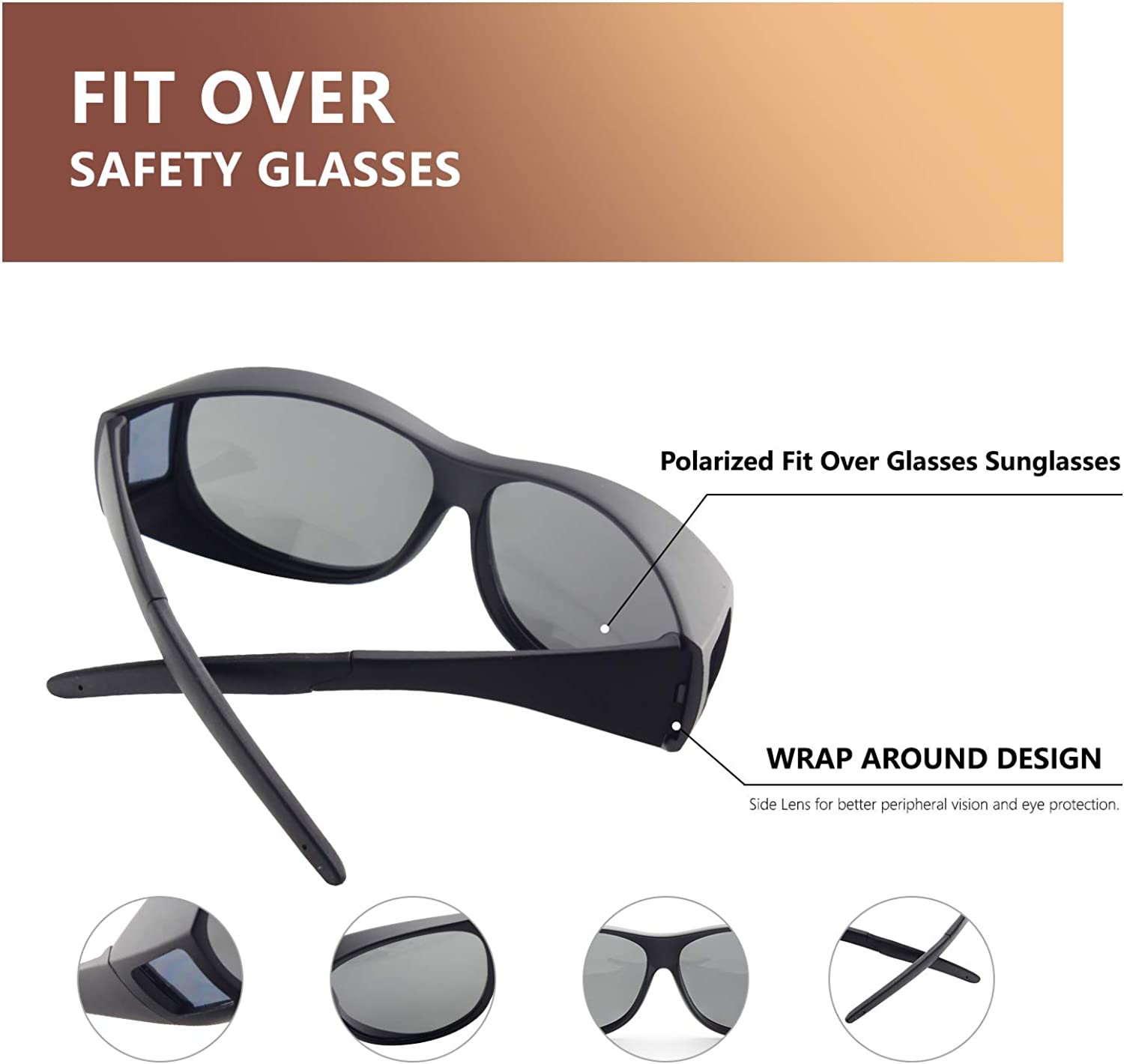Xiyalai Fit Over Glasses Sunglasses with Polarized Lenses for Men and Women