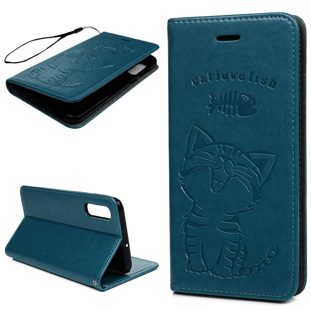 Einfarbiger Flip PU Leder Handyh/ülle Klappbares Brieftasche Schutzh/ülle Stand Wallet Case Cover Tasche mit Karteneinschub Blau MLorras H/ülle f/ür Samsung Galaxy A50