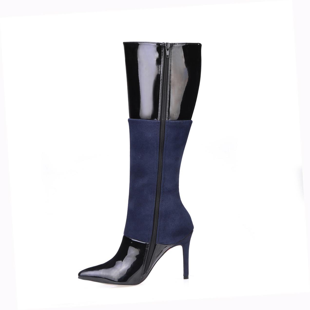 Best 4U® Frauen Hohe Stiefel Lackleder Elastische Samt 9,7 cm High Heels Stiletto Gummisohle Runde Kappe Reißverschluss Herbst Winter Schuhe Schwarz  | Niedriger Preis