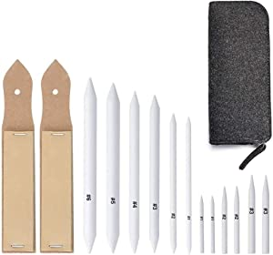 Sketch Drawing Tools,15 Pieces Blending Stumps and Tortillion Paper Art Blenders with Sandpaper Pencil Sharpener Pointer for Student Artist Charcoal Sketch Drawing Tools