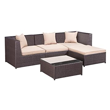 Palm Springs Outdoor 5 Pc Furniture Wicker Patio Set W/ Chairs, Table U0026  Cushions