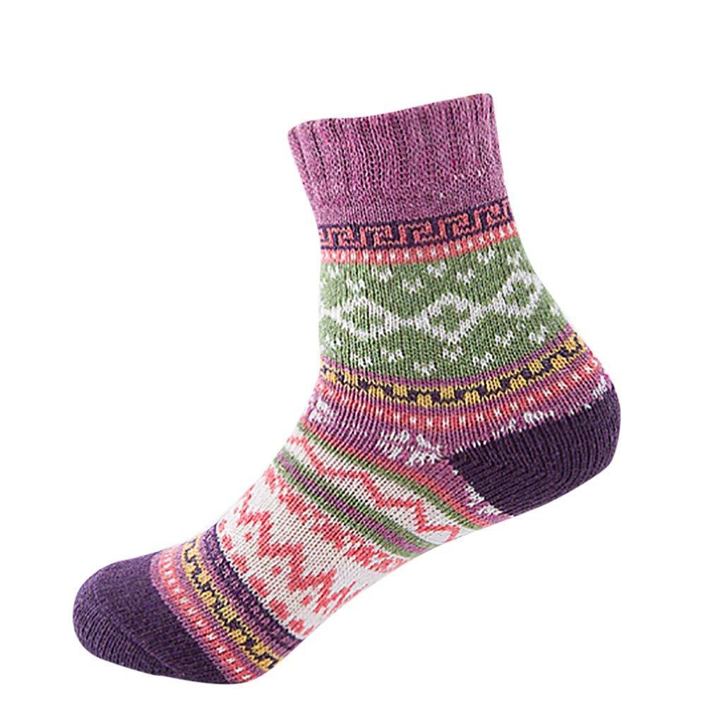 Pumsun Womens Vintage Winter Soft Warm Thick Cold Knit Wool Crew Socks Geometry Print (Purple)