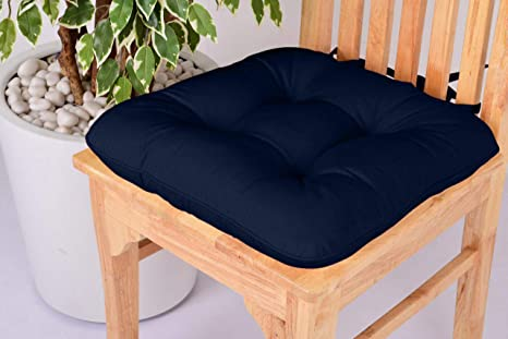 Comfort Beddings Lushness Linen - Cojín para Silla de Comedor, Cocina, Oficina, 100% algodón, con Lazos, Color Crema, algodón, Azul, 40 x 40 cm
