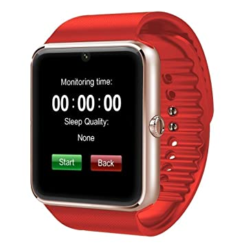 Montre Connectée, Bluetooth Smartwatch Montre Sport Supporte Carte SIM et TF Caméra avec Podomètre,