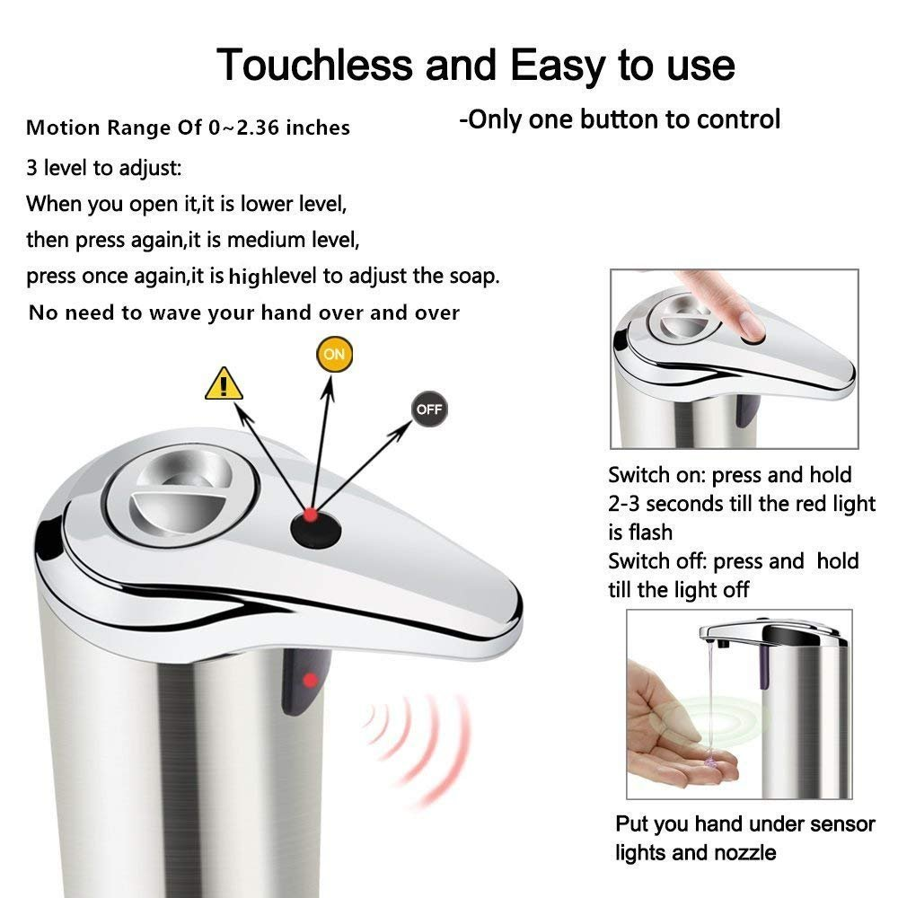ASITA Soap Dispensers, Automatic Hands Free Fingerprint Resistant Stainless Steel Soap Dispenser, IR Infrared Motion Sensor Touchless Autosoap Dispenser for Kitchen Bathroom