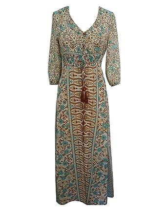 1b5c6a9f3c1a LaoZan Damen Maxikleid Strandkleid Böhmische Sommerkleid Druck Lang Das  langärmelige Kleid  Amazon.de  Bekleidung