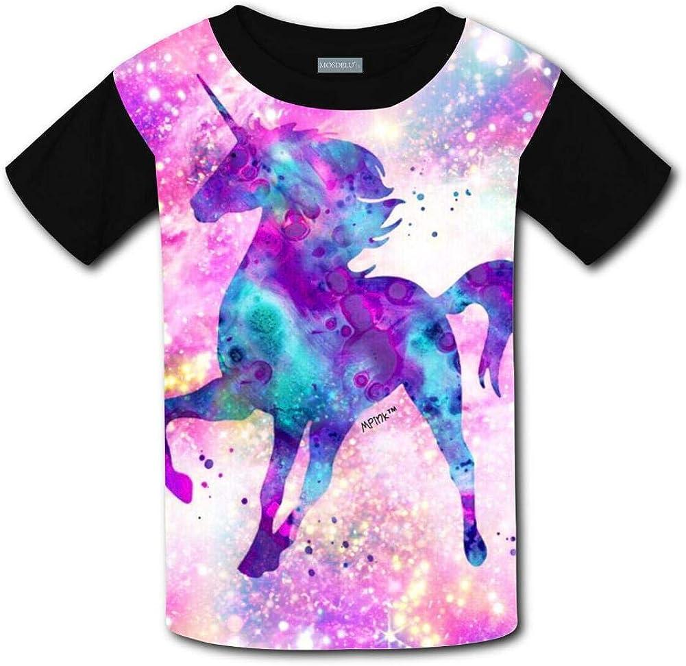 Shirts Short Sleeve Kids Tee Unisex Youth 3D Cartoons Cute Galaxy Unicorns 3D Printing T