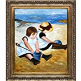 overstockArt Children Playing on The Beach Painting by Mary Cassatt with Baroque Wood Frame, Antiqued Gold Finish
