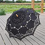 Saitec® New Fashion Lace Parasol Sun Wedding Umbrella Bridal Bride Parasols Umbrellas Sombrinha Beige Black