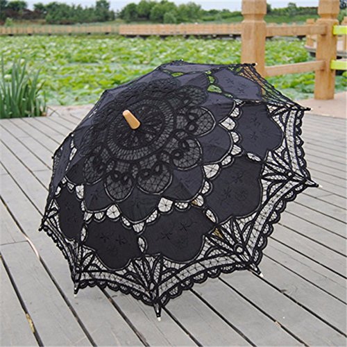 Saitec® New Fashion Lace Parasol Sun Wedding Umbrella Bridal Bride Parasols Umbrellas Sombrinha Beige Black by Saitec