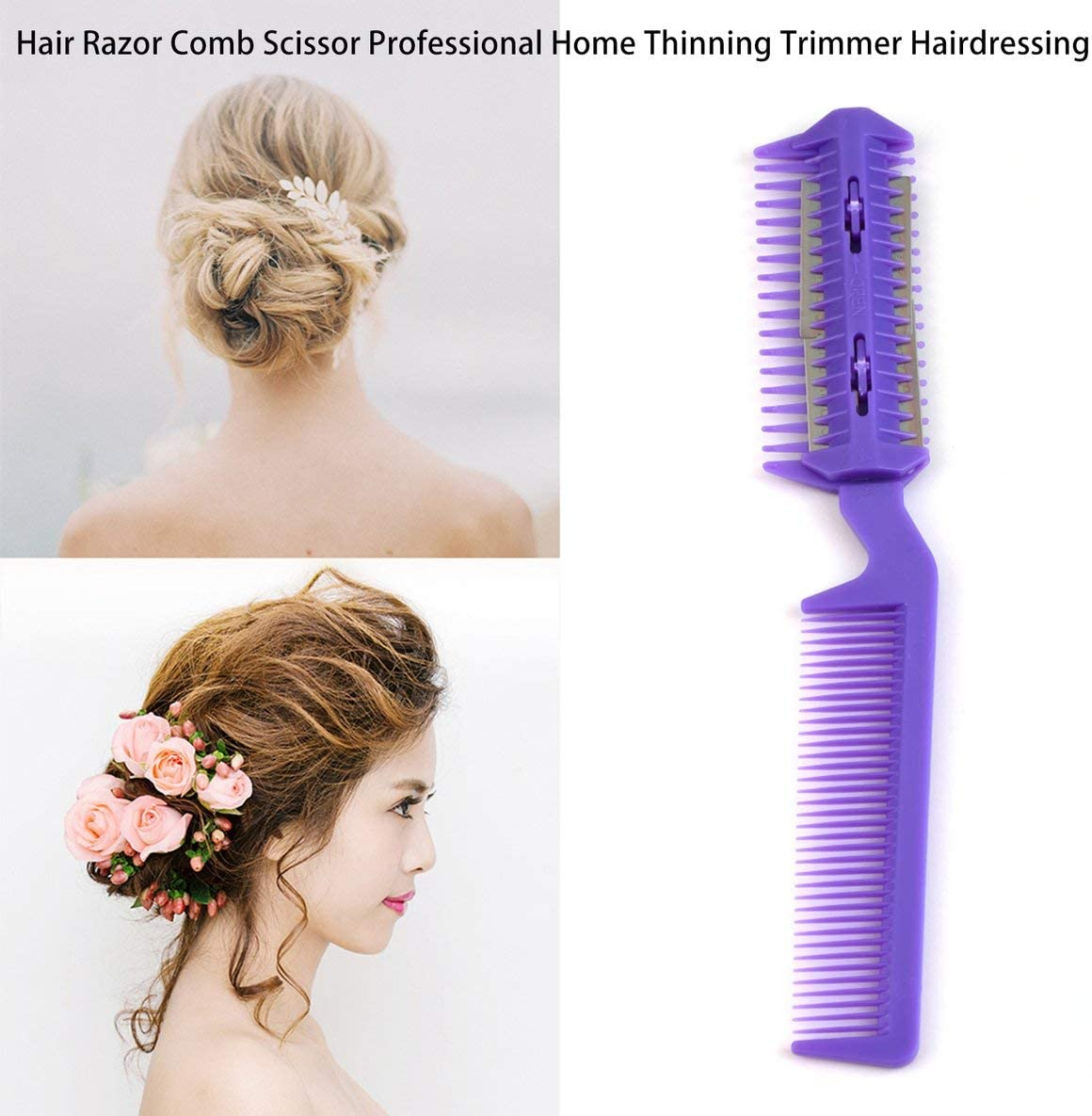 Rouku Multi-Functional Professional Home DIY Hair Razor Comb Hairdressing for Shaping Layering and Trimming Hair