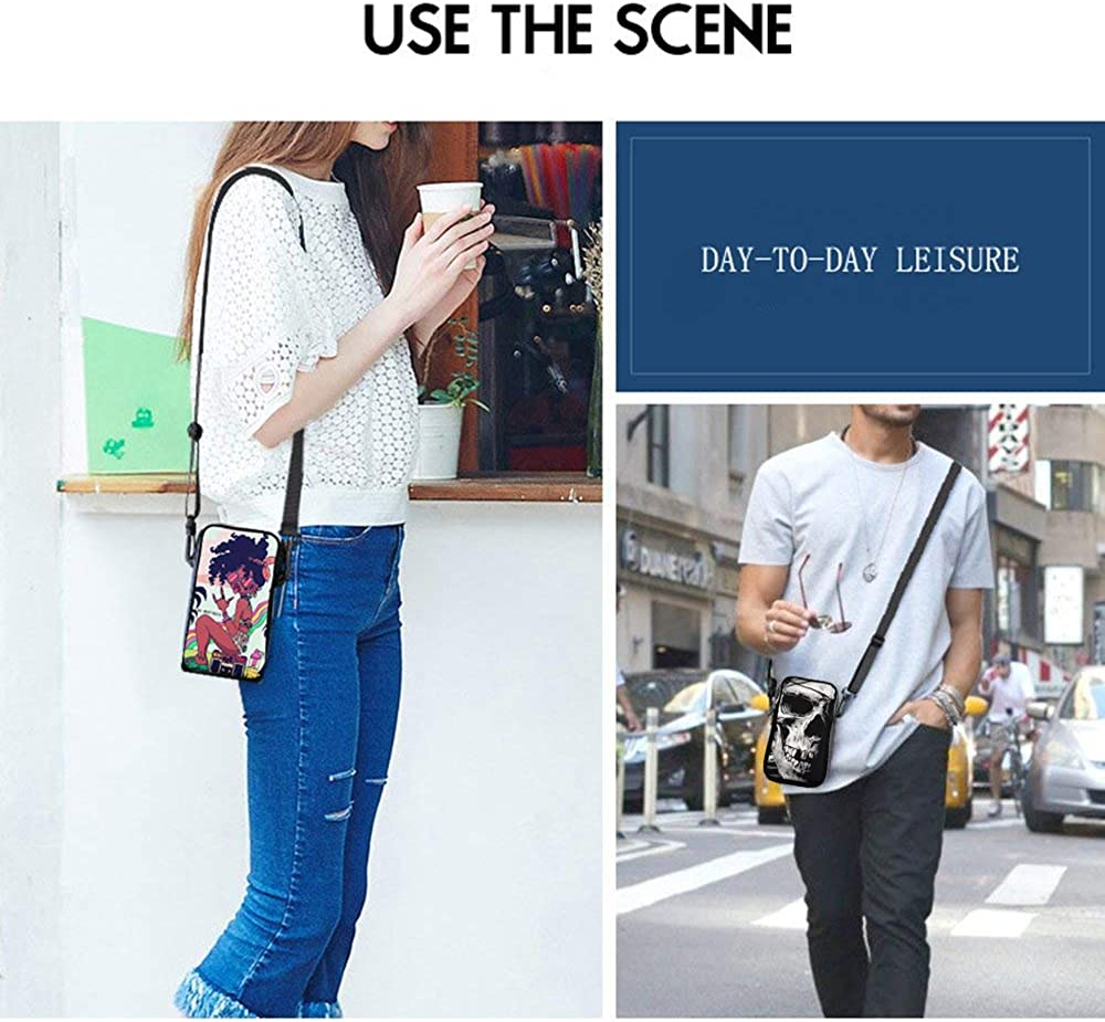 Cell Phone Purse Smartphone Wallet with Shoulder Strap Handbag for Women black white kelly blue happy camper Small Crossbody Bag