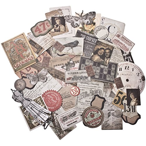 Tim Holtz Idea-ology Thrift Shop Ephemera Pack, 54 Pieces, TH93114 ()