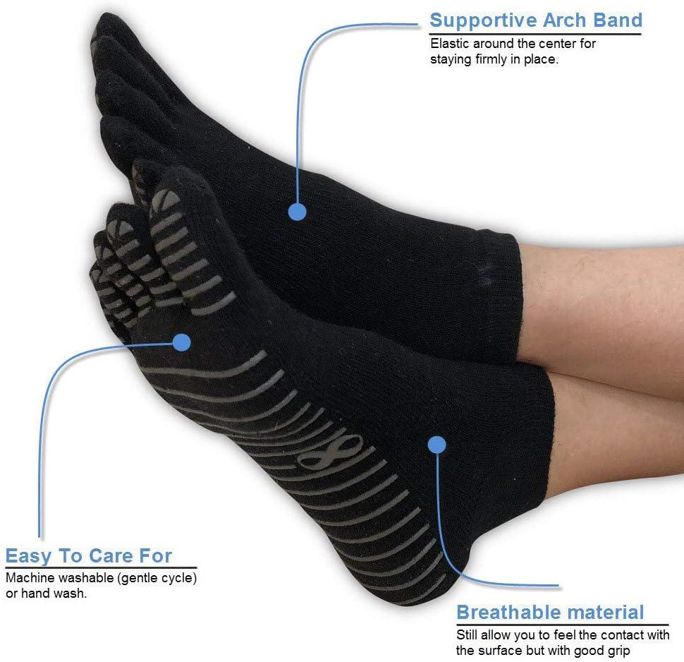 2 Paar rutschfeste Yoga-Zehensocken in verschiedenen Farben von YogaAddict