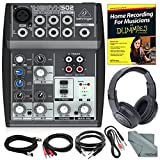 Behringer XENYX 502 5-Channel Audio Mixer and Platinum Bundle w/Stereo Headphones, Home Recording for Musicians for Dummies, 5X Cables, and Fibertique Cloth